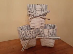 WICKER BASKET SET - WHITE WITH BRIGHT SPRING FABRIC SET OF 3 SHABBY CHIC