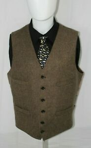 J.CREW Men's L Browns Herringbone Wool MOON British Cloth Vest Waist Coat