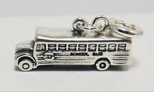 Sterling Silver School Bus Charm fits European and Traditional Bracelets 0265