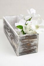 """Richland White Washed 4"""" x 12"""" Planter Boxes Wood Garden Decor Home Flowers"""