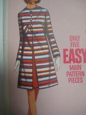 Vintage 60's Butterick A-LINE COAT & SLEEVELESS DRESS Sewing Pattern Women Sz 14