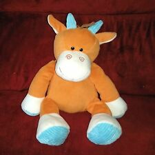 Circo HORSE Orange Cream Velour Soft 17in Plush Blue Ribbed Horns Pads Target