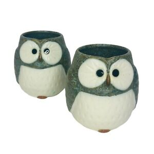 Kotobuki Japanese Set Of 2 Owl Tea Cups Porcelain Made In Japan Stoneware 3""