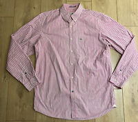Lacoste Men's Casual Shirt Pink Check Size 41 Large F5182 100% Cotton