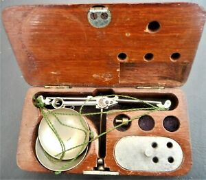 Vintage Miniature Scales complete in Wooden Case