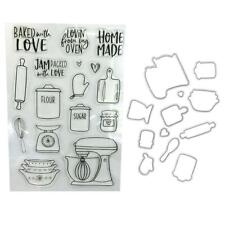 Kitchen ware Clear Stamps Seal+Cutting Dies Stencil Set DIY Scrapbooking