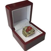 2002 Redwings YZERMAN Stanley Cup 18k GP Brass Championship Ring & Wood Box