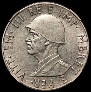 1939-R Albania 2 Lek Coin - NGC AU 58 - KM# 32