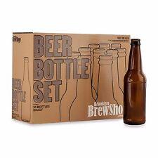 10-Piece Tinted Amber Brown Glass Homebrew Beer Ale Malt Making Bottle Set New