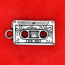 3 X Tibetano Plata Retro Cassette cinta encanto colgante encontrar Bead haciendo