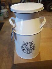 """Panacea 82618 Vintage Milkhouse Milk Can Planter, White Enamal, 16"""" H New"""