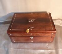 Antique Victorian Rosewood and Mother of Pearl Inlaid Large Box-Circa 1880