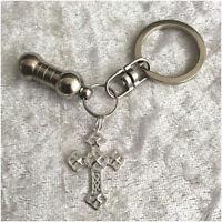 Cremation Jewellery Ashes Urn Keyring w Filigree Cross Funeral Keepsake Memorial