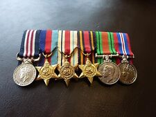 WW2 Military Medal Gallantry & Service Medals Miniature Group - On Pinned Bar