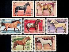 CAMBODGE Kampuchea N°611/617** Chevaux, 1986 CAMBODIA Horses Sc#645-651 MNH