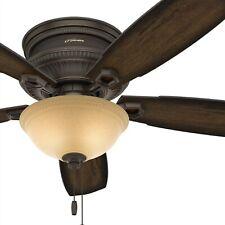 Hunter Fan 52 inch Low Profile Ceiling Fan in Onyx Bengal w/ LED Bowl Light Kit
