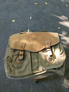 Lehman Brothers Canvas Brown Leather Laptop Messenger Business Bag