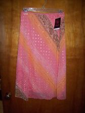 """NWT $34 Wrapper Skirt Orange Floral S/24""""-28"""" Elastic Waist 100% Poly Lined USA"""