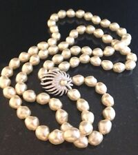 Signed Ciro Baroque Pearl Double Strand Necklace Crystals On Clasp Gorgeous