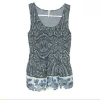 Free People Womens Size S Paisley Blue Tank Top Flowy Stretchy
