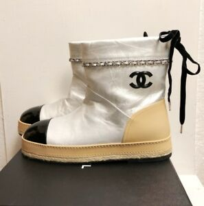Chanel 17K Espadrilles Silver Beige Black Fur Chain Boots Booties Flats Shoes 41