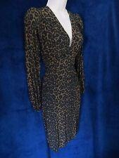 NWOT 40's Retro Vintage Dark Leopard Cat V Sexy Pin Up Formal Dress Motel Rocks