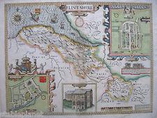 1676 FLINTSHIRE Wales * JOHN SPEED 39x51cm ORIGINAL handcolor engraving STUNNING