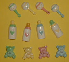 12 Resin Baby Set (4 of each piece) Card Topper Embellishments