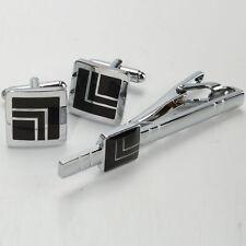 New PracticClassic Men's Party Gift Cufflinks Necktie Tie Clips Clasp Set Silver