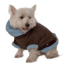 Kumfy Tailz Warming Dog Coat Jacket Harness Brown Micro Suede w/ Blue Sherpa XS