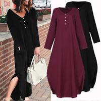 Womens Long Sleeve Casual Loose Formal Maxi Dress Kaftan Baggy Dresses Plus Size