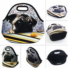 Pug Thermal Cooler Insulated Lunch Bag Picnic Carry Neoprene Tote Storage Bag