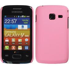 Hardcase for Samsung Galaxy Y Duos rubberized pink Cover + protective foils