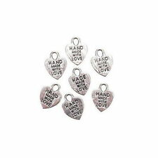 Darice Hand Made With Love Silver Coloured Heart Charms x 70