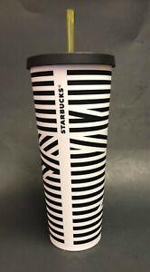 NEW STARBUCKS Black White ZEBRA STRIPE VENTI Cold Cup TUMBLER 24oz With Straw