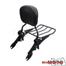 Noir Amovible Dossier Sissy Bar avec porte-bagages pour Harley 09-UP Road Glide