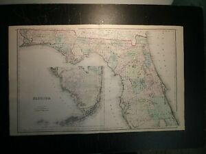 1876 Grays map of Florida (Double Page) AL/GA on reverse.28x17.