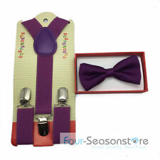 Purple toddler bow tie and suspenders set, Tuxedo Accessorie for baby boy/girl