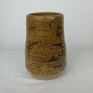 Mid Century Vintage Ceramic Brown Vase Wax Resist Glaze Etching Signature Under