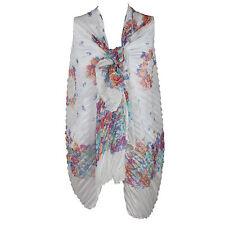 Ladies Large Off White/Lemon/Pink/Blue Crinkle Floral Scarf/Wrap/Pashmina/Shawl