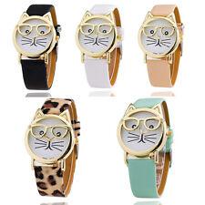 Fashion Women Cute Glasses Cat Analog Quartz Dial Leather Wrist Watch Gifts Hot