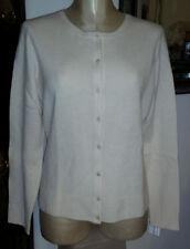 NWT WENDY B 100% CASHMERE Ivory Soft Lace Crew Neck Cardigan Sweater - sz L