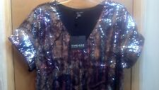 TIMELESS BY NAEEM KHAN MULTI-COLOR SEQUIN COCKTAIL SHORT SLEEVE DRESS SZ 2X NWT