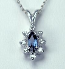 Vintage 14k Sapphire and Diamond  w.g. Pendant and Chain