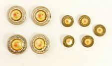 9x Vtg Metal Buttons w/ Hand Painted Rose Enamel Centers 4X Large 5X Small VGUC