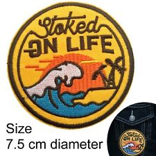 Stoked on life iron on patch - enjoy live now beach surf wave iron-on patches