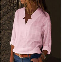 US Womens V-neck Long Sleeve Casual OL Shirt Ladies Linen Tops Blouse Plus Size
