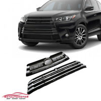 Fits Toyota Highlander 2017 -2019 Front Upper and Lower Grille Chrome 2PCS