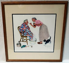 """Norman Rockwell Picture Tender Years: Treating A Cold 1957 Framed 24.5"""" x 23.5"""""""