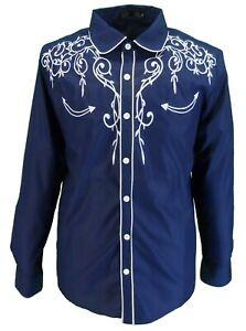 Mazeys Mens Navy Western Cowboy Embroidered Vintage/retro Shirts
